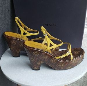 Prada wedges (brown and yellow)